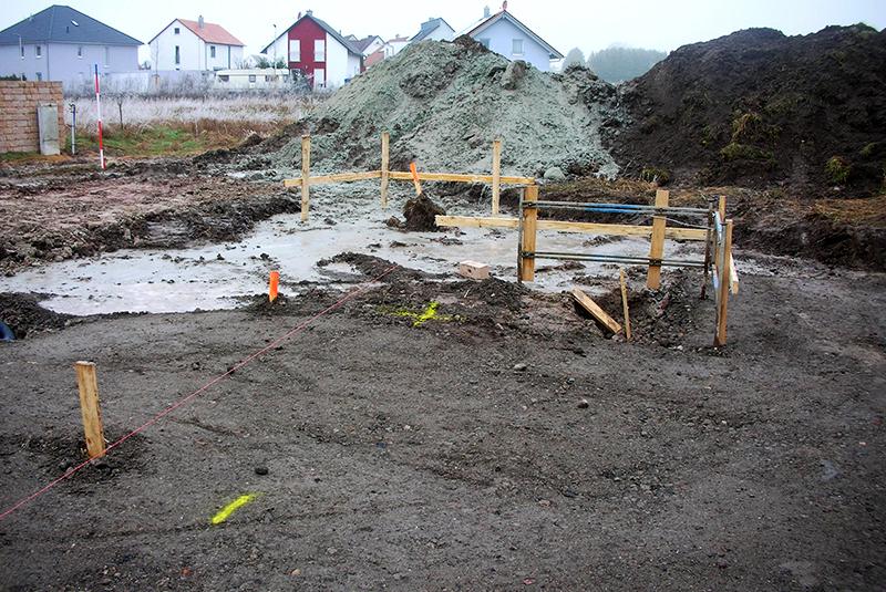 Baustelle Bungalow Erdarbeiten beginnen